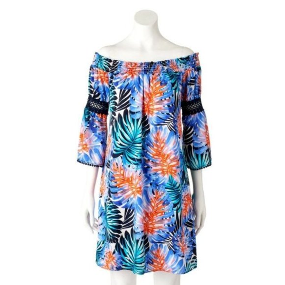 Women/'s Jennifer Lopez JLO Off-the-Shoulder Smocked Dress Tropical Print NWT